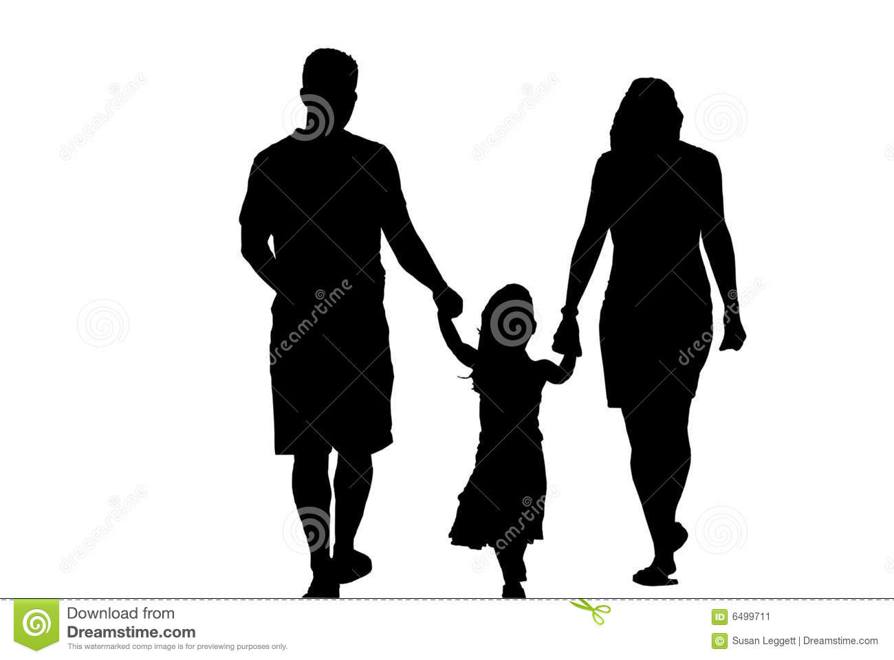 Family Three Holding Hands Silhouette