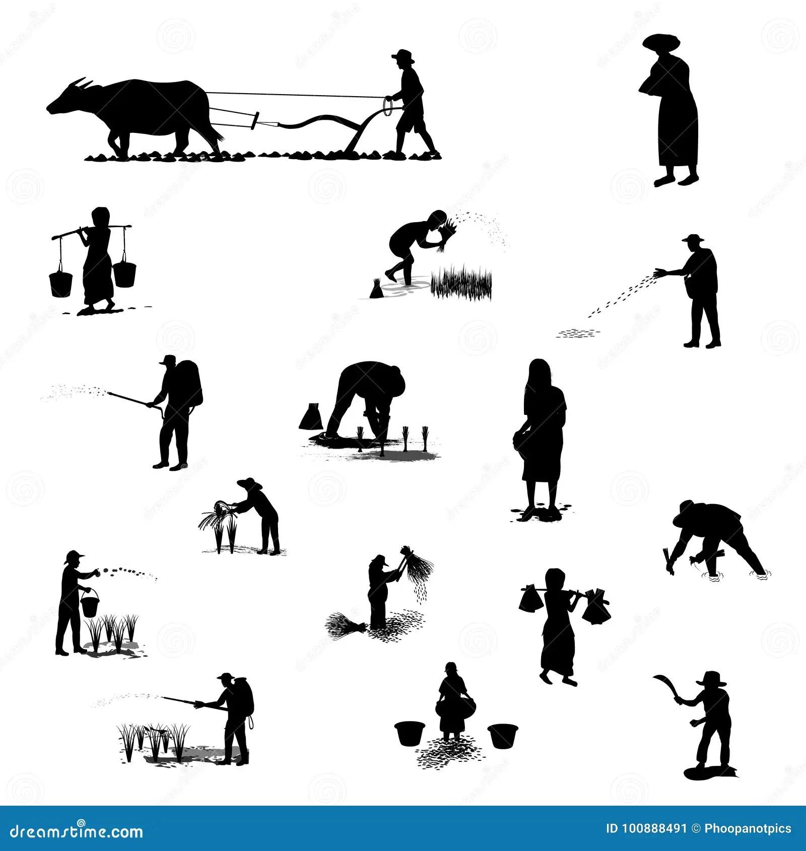 Silhouette Farmer Shape Stock Vector Illustration Of