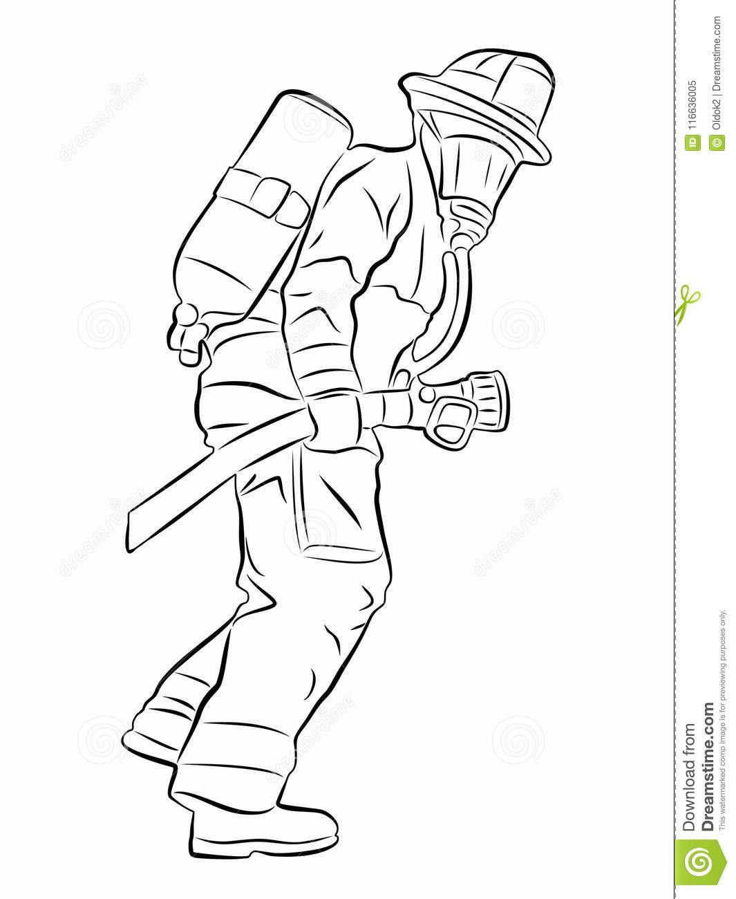 Silhouette Of A Fireman Vector Draw Stock Vector