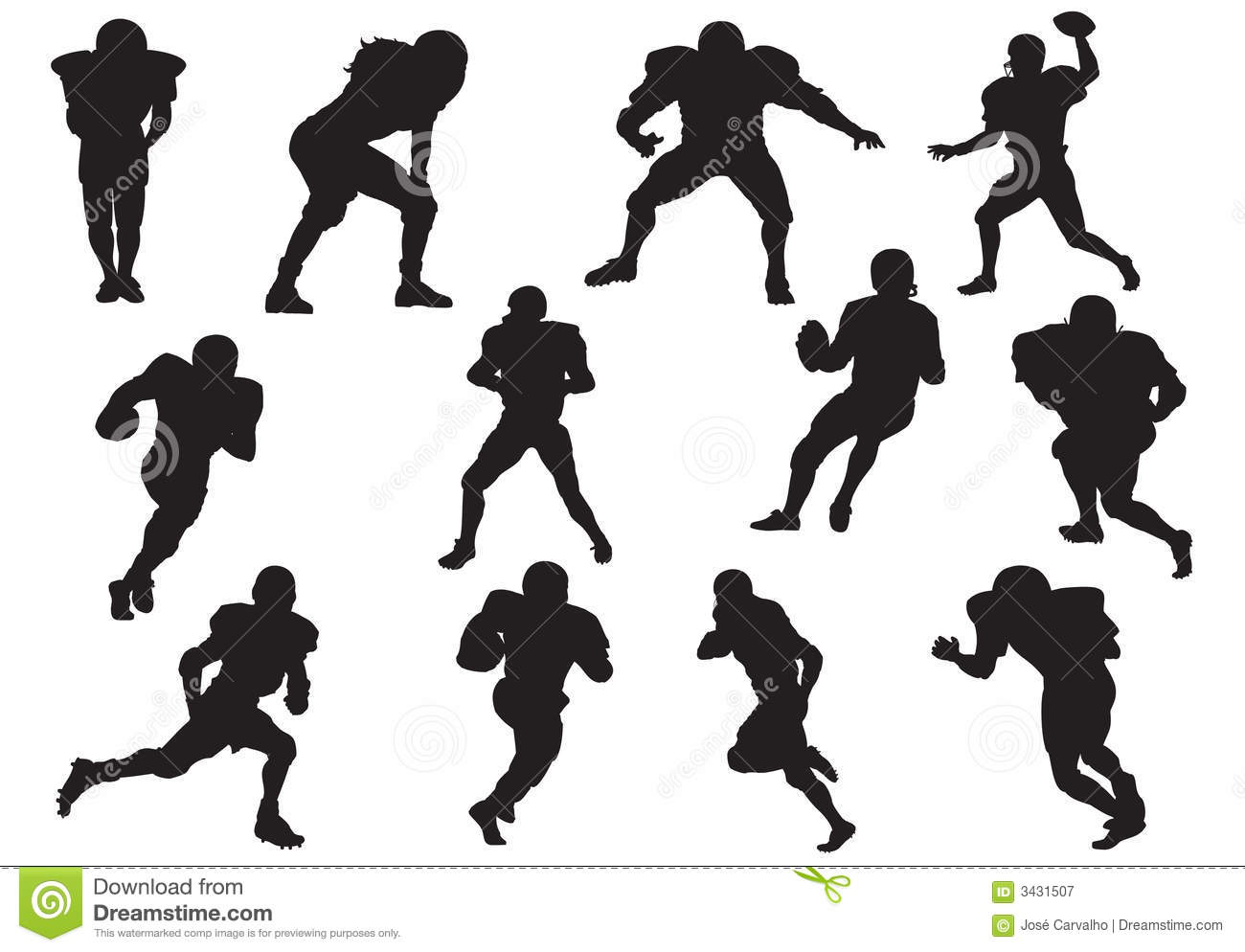 Silhouette Of Football Players Stock Vector