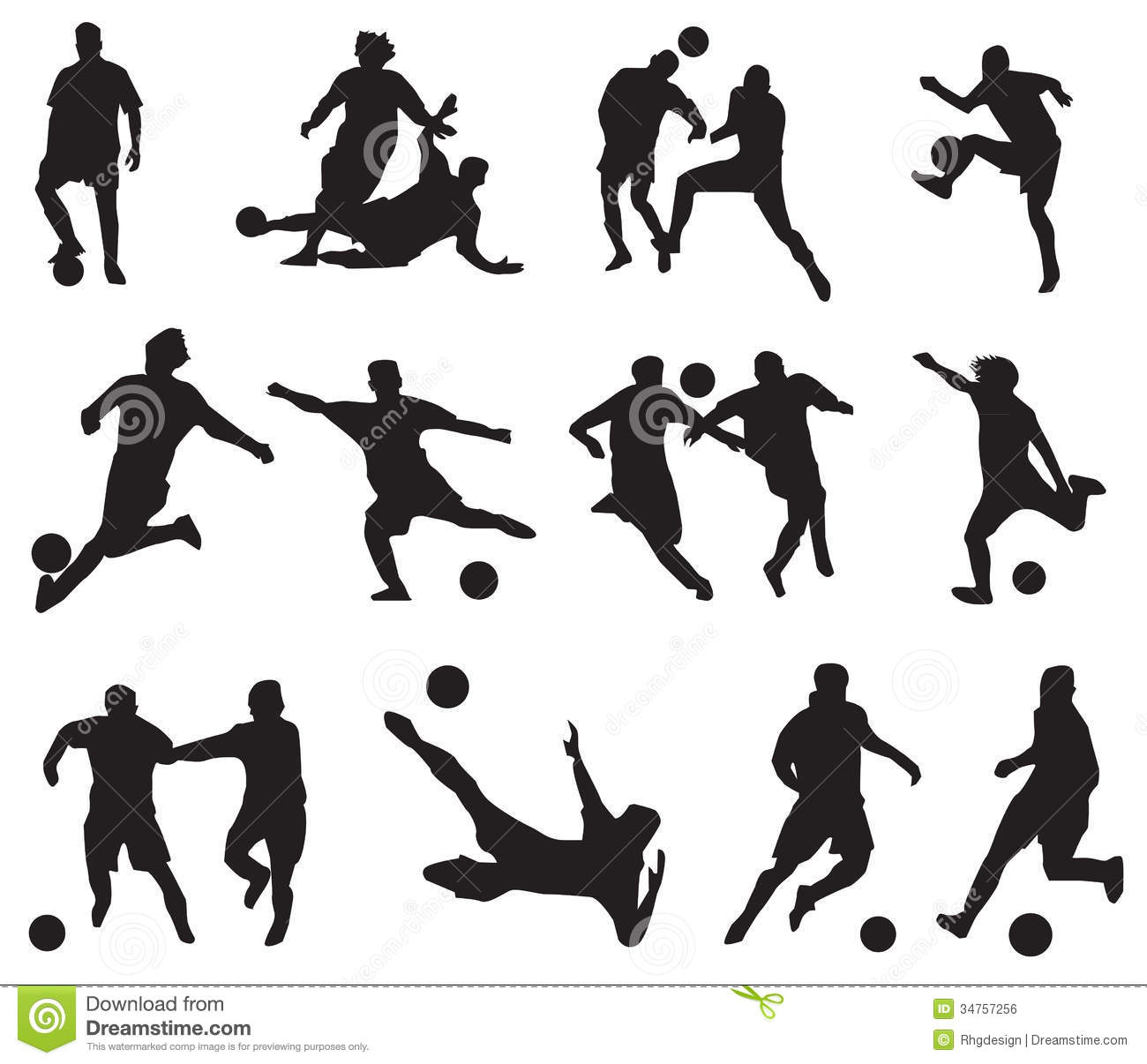 Silhouette Football Players Royalty Free Stock Image