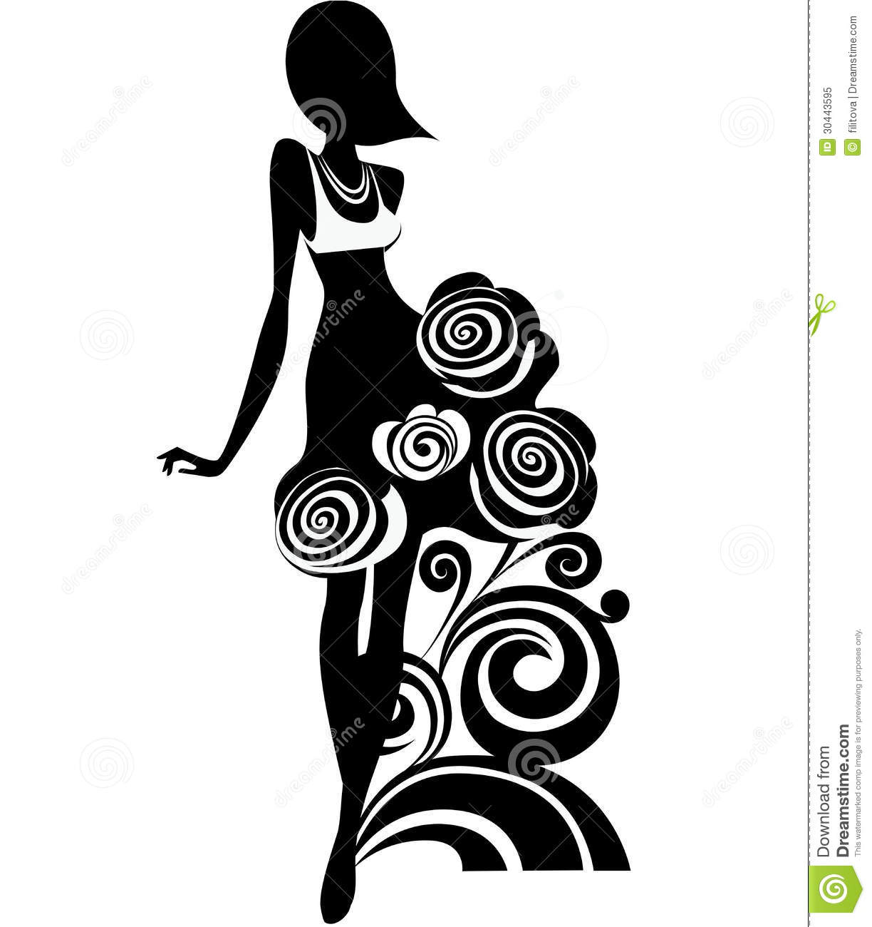 Silhouette Of Girl With Decorative Flowers Stock Vector