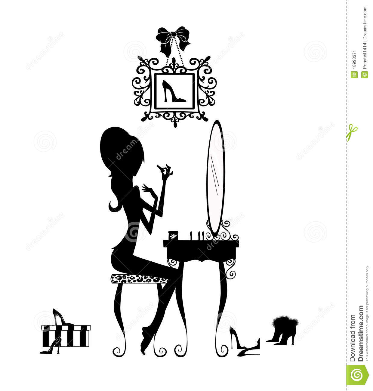 Silhouette Of A Girl At Her Vanity Stock Illustration