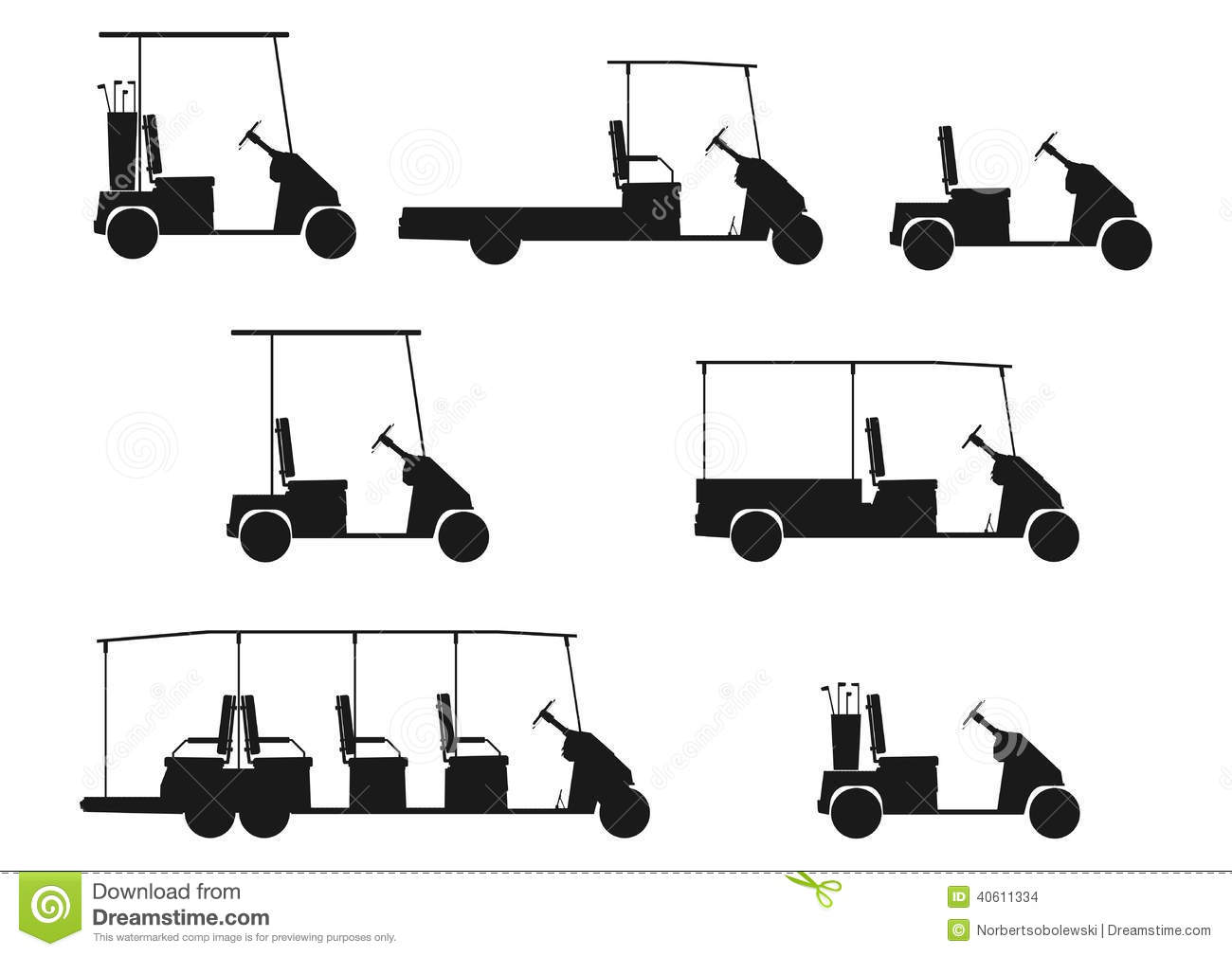 Silhouette Of Golf Cart Stock Vector