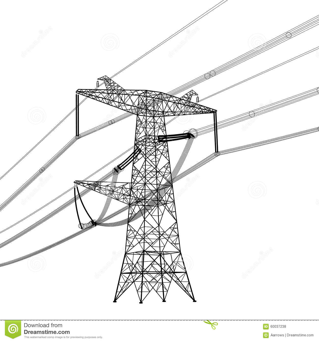 Silhouette Of High Voltage Power Lines Vector Stock