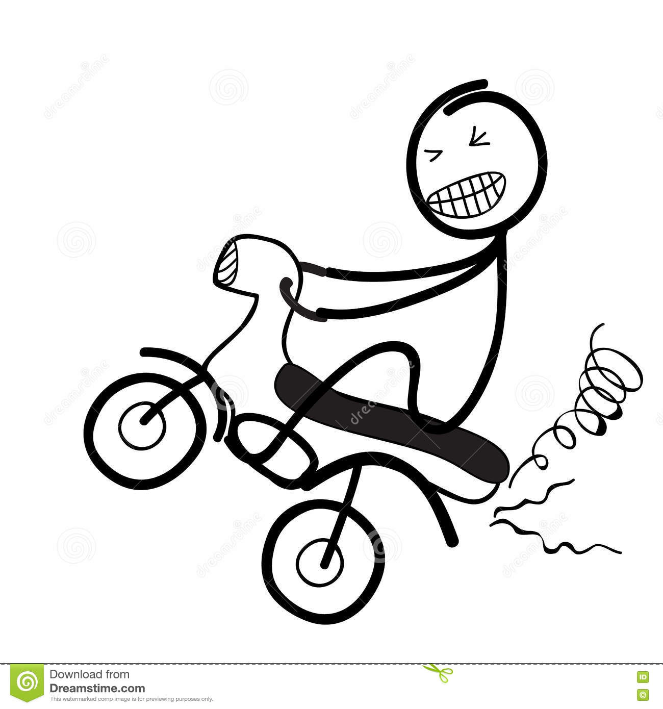 Motorized Bicycle Wheelie Cartoon