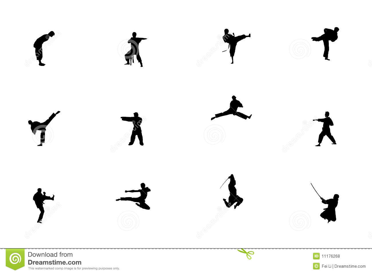 Silhouette Of Martial Arts Stock Illustration