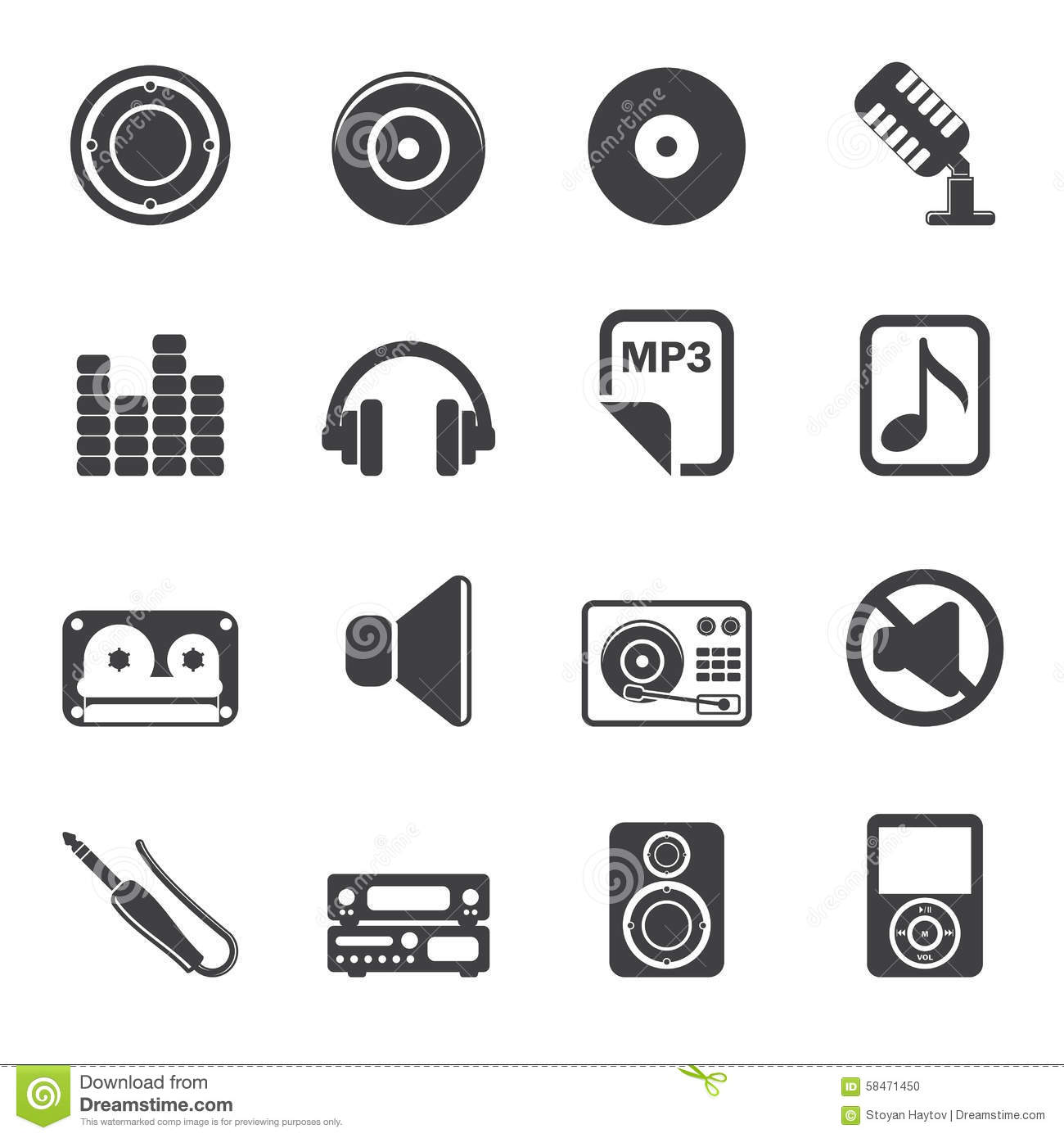 Silhouette Music And Sound Icons Vector Illustration