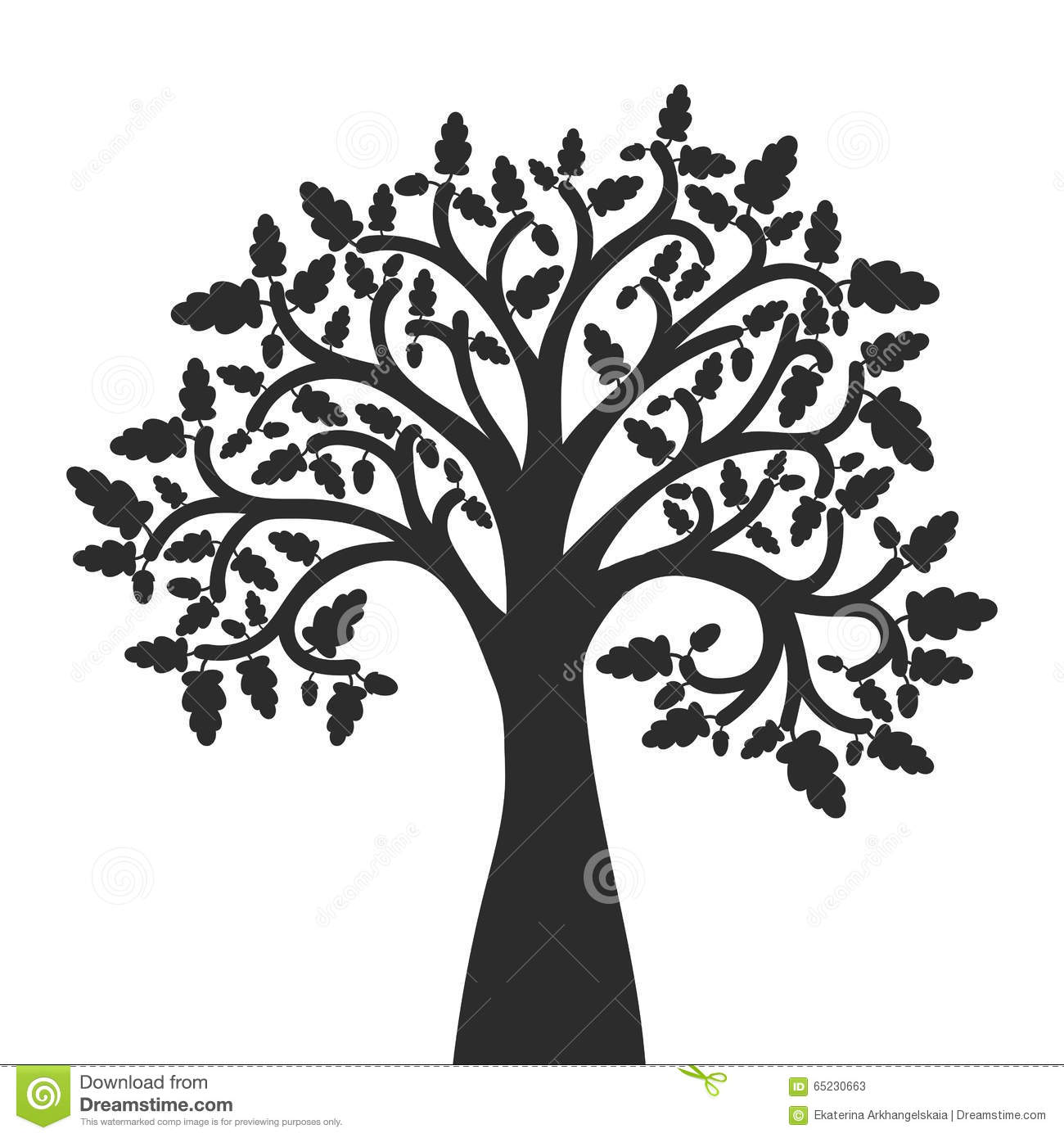 Silhouette Of Oak Tree With Leaves Stock Vector