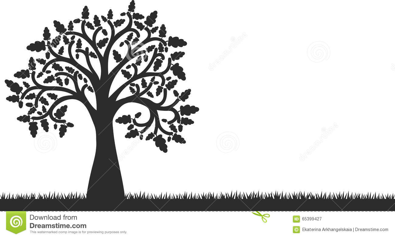 Silhouette Of Oak Tree With Leaves And Grass Stock Vector