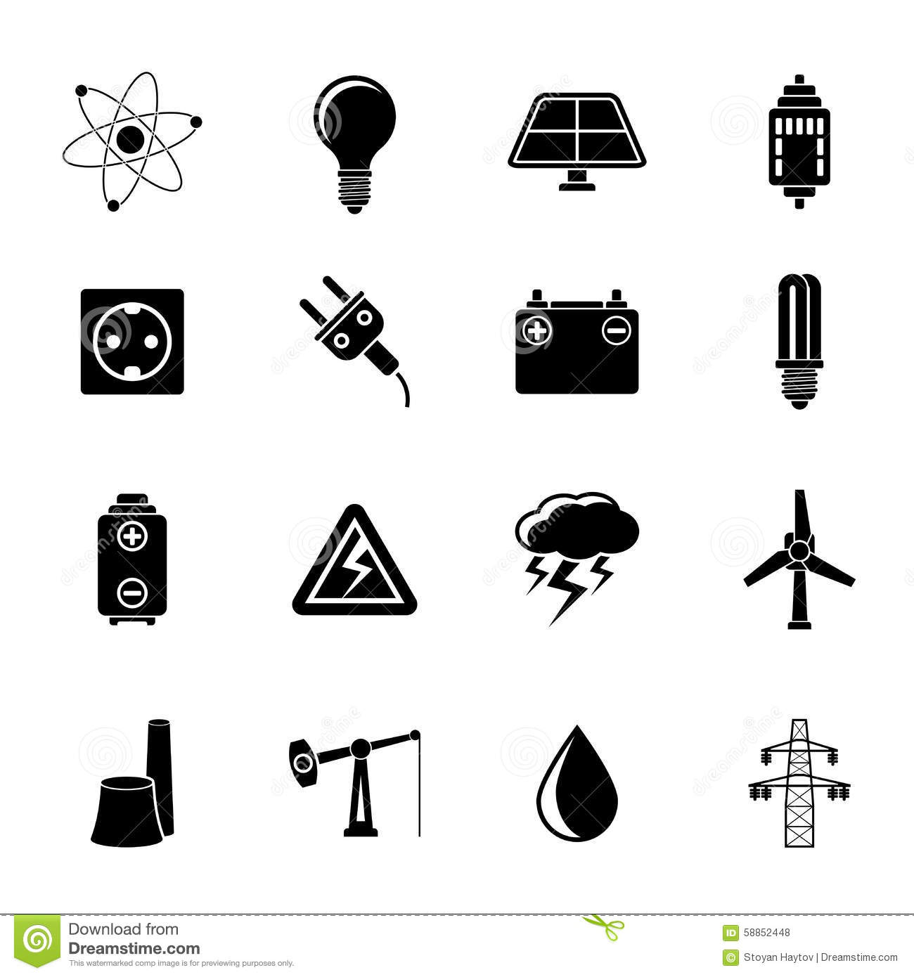 Silhouette Power And Electricity Industry Icons Stock