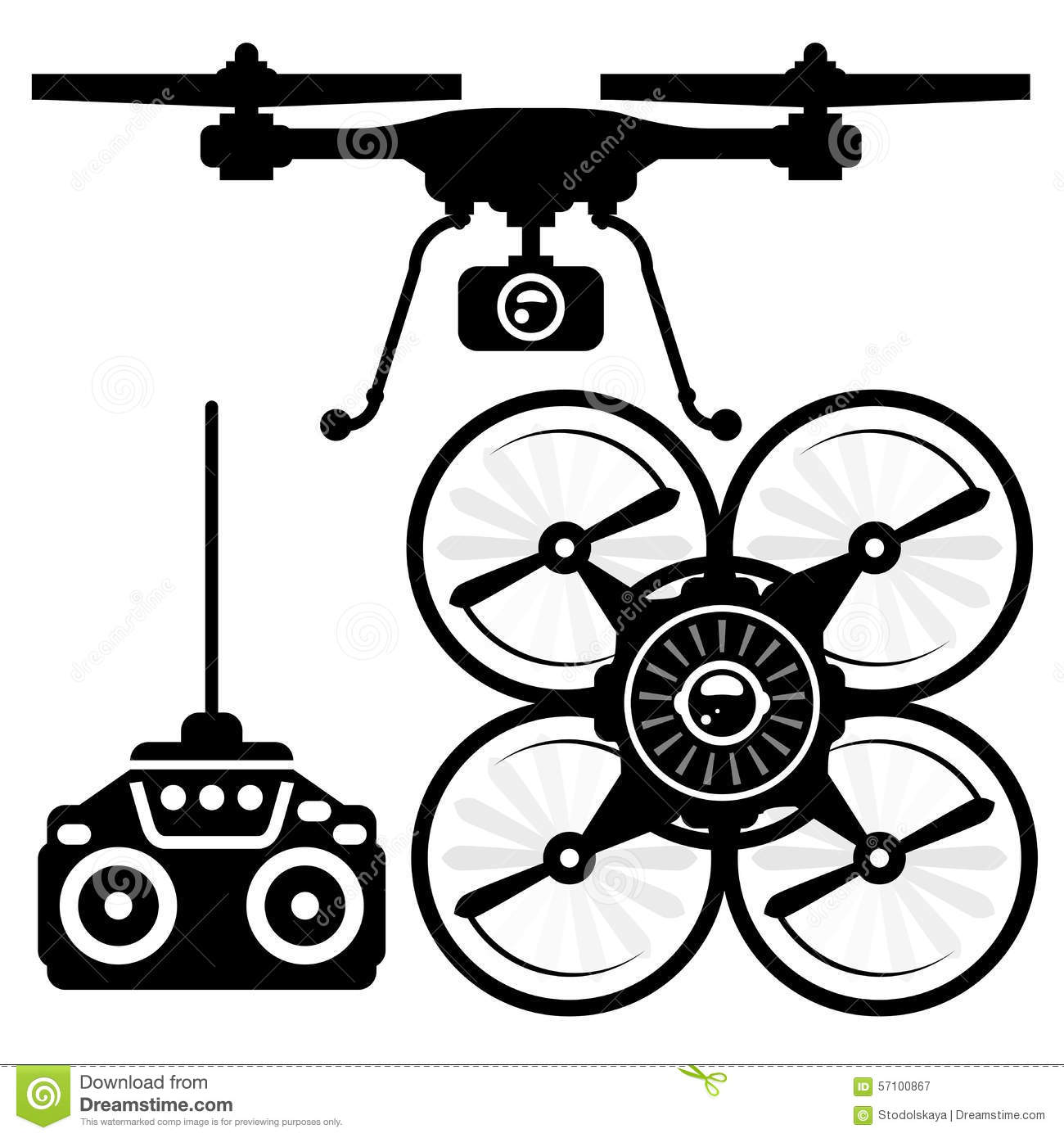 Silhouette Of Quadcopter And Remote Control Stock Vector
