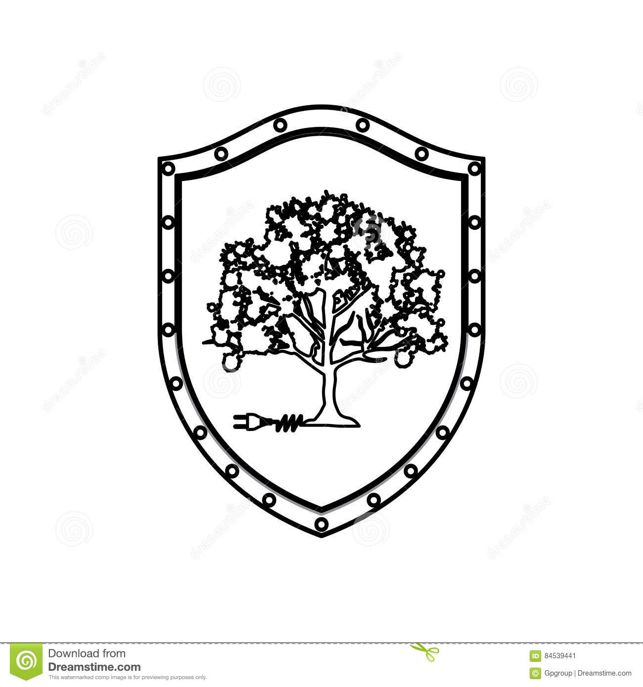 Silhouette Shield With Tree And Plug Connector Stock