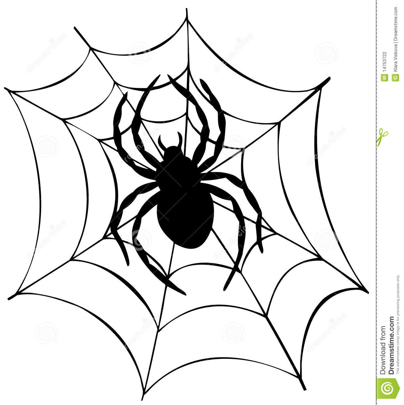 Silhouette Of Spider In Web Stock Vector