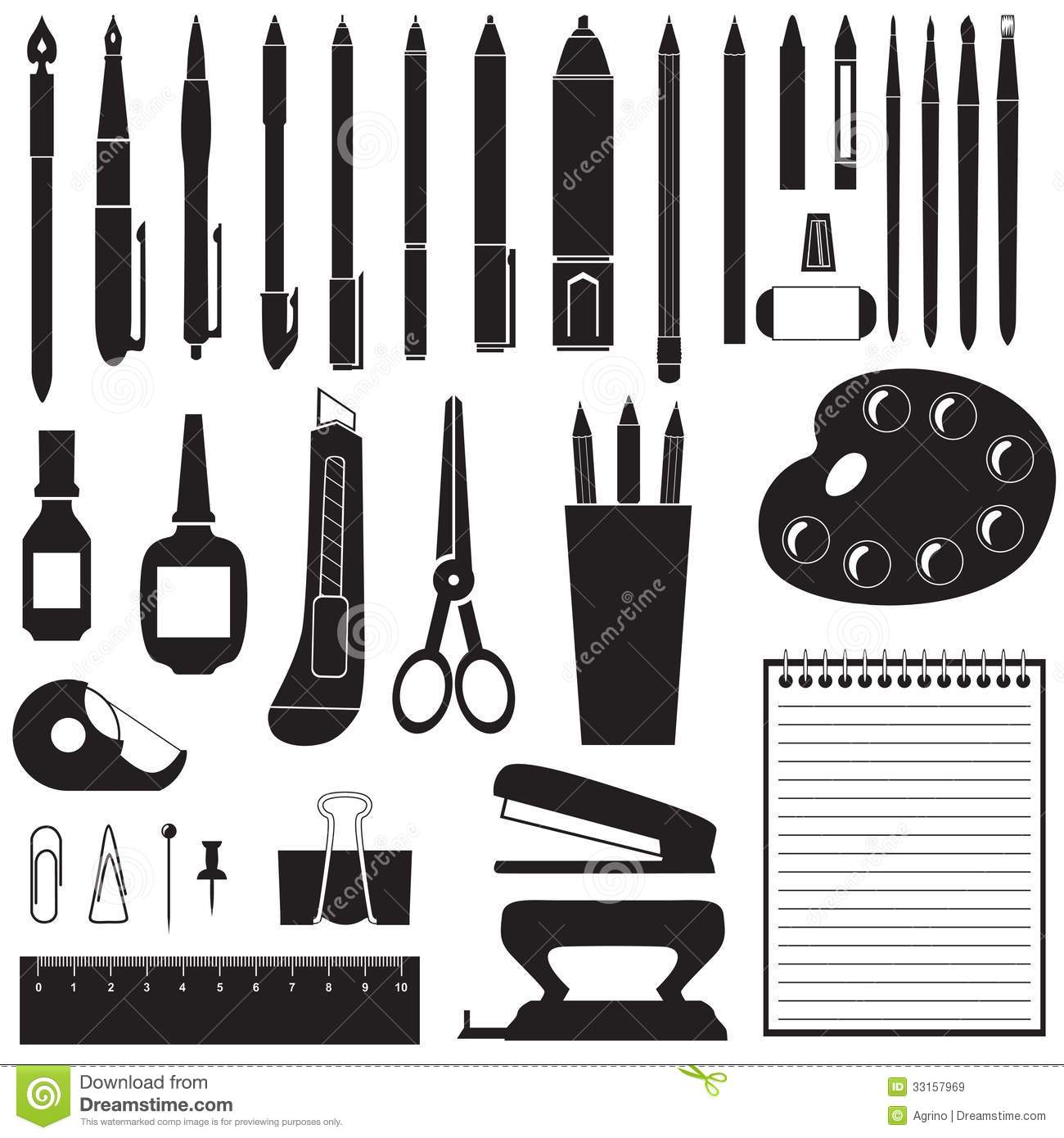 Silhouette Of Stationery Stock Vector Illustration Of