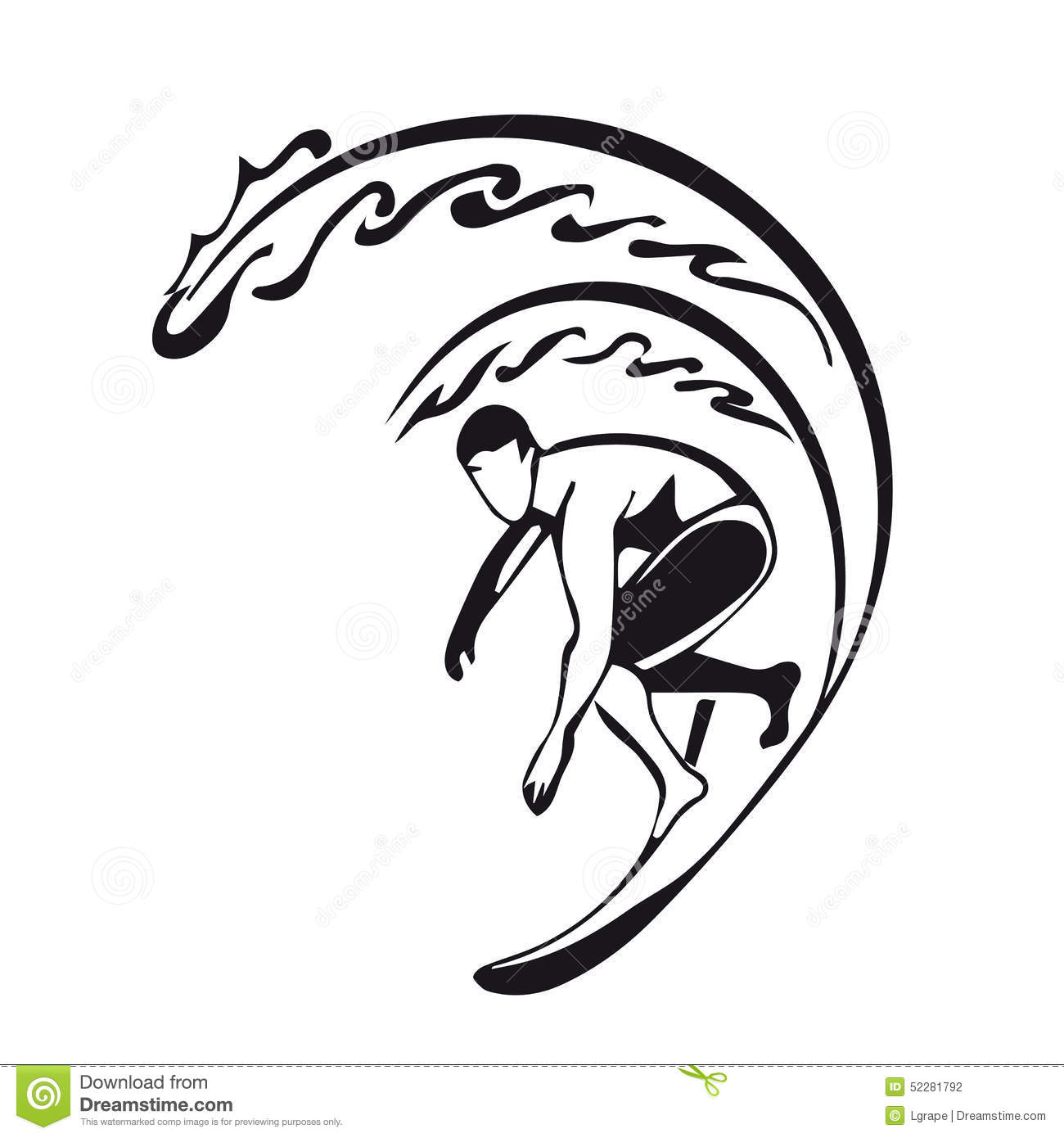 Silhouette Of A Surfer Man Stock Vector