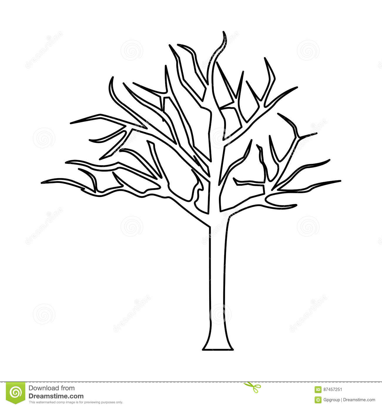 Silhouette Tree With Branches Without Leaves Stock