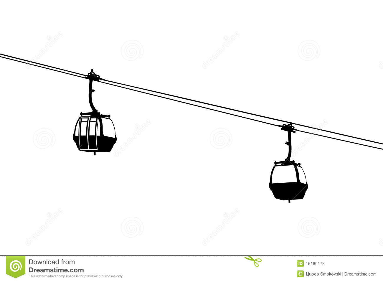 A Silhouette Of Two Air Cable Cabins Stock Illustration