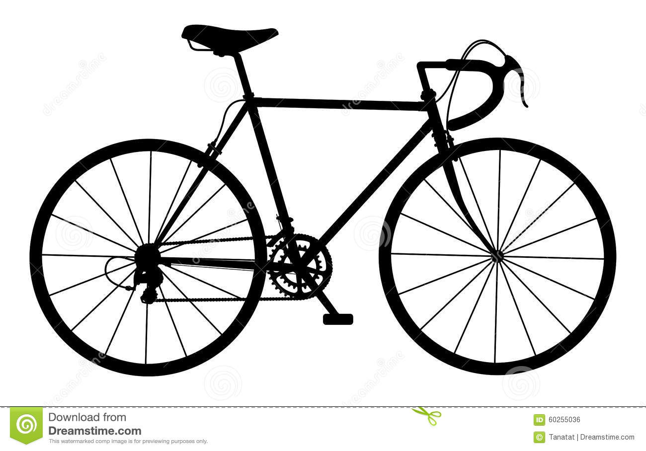 Silhouette Of Vintage Bicycle On White Stock Illustration