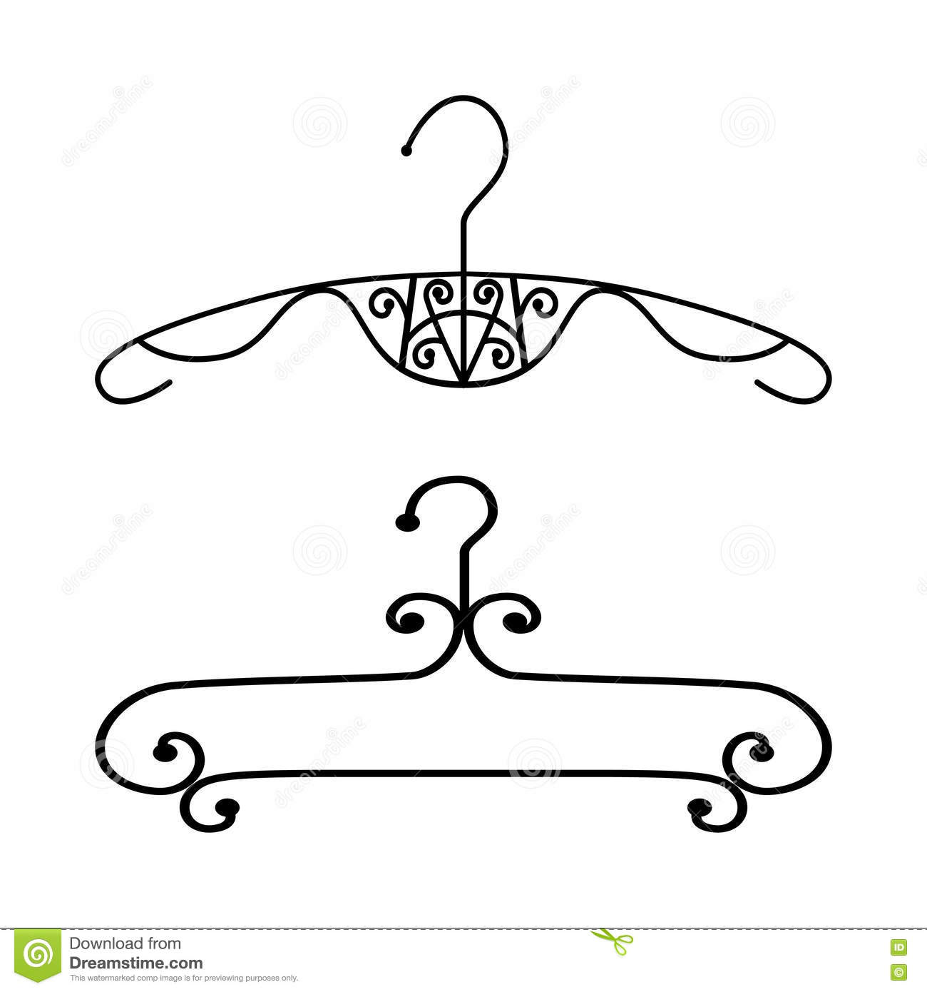 Silhouette Vintage Clothes Hanger Stock Vector