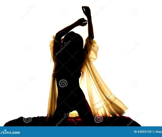 Silhouette Woman In Sheer Nightgown Hands Up Kneel