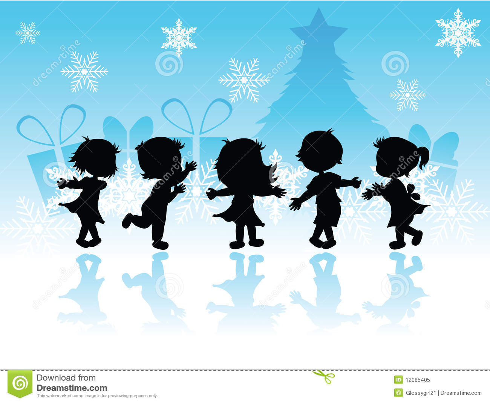 Silhouettes Christmas Children Royalty Free Stock Photo