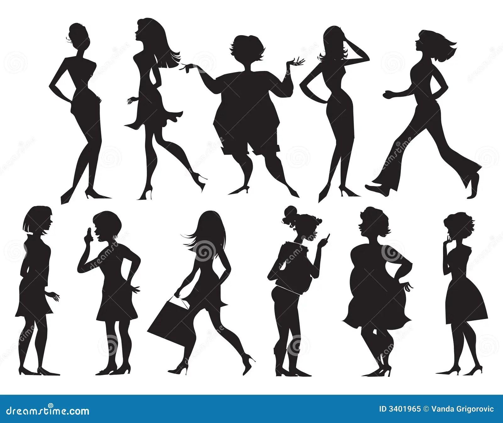 Silhouettes Des Femmes Illustration De Vecteur