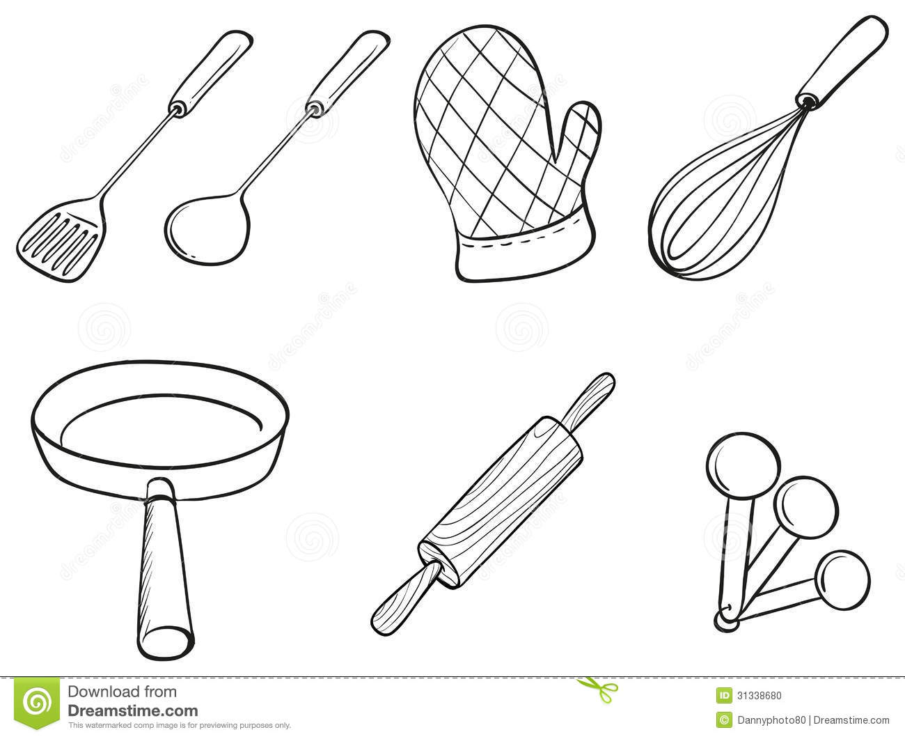 Silhouettes Of Kitchen Utensils Stock Vector