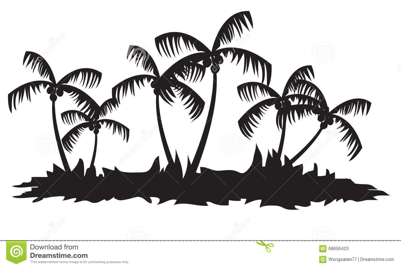 Silhouettes Of Palm Tree Forest Stock Vector