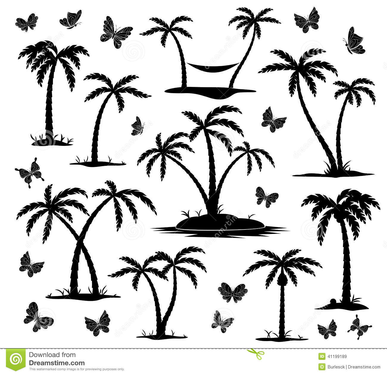 Silhouettes Of Palm Trees Stock Vector