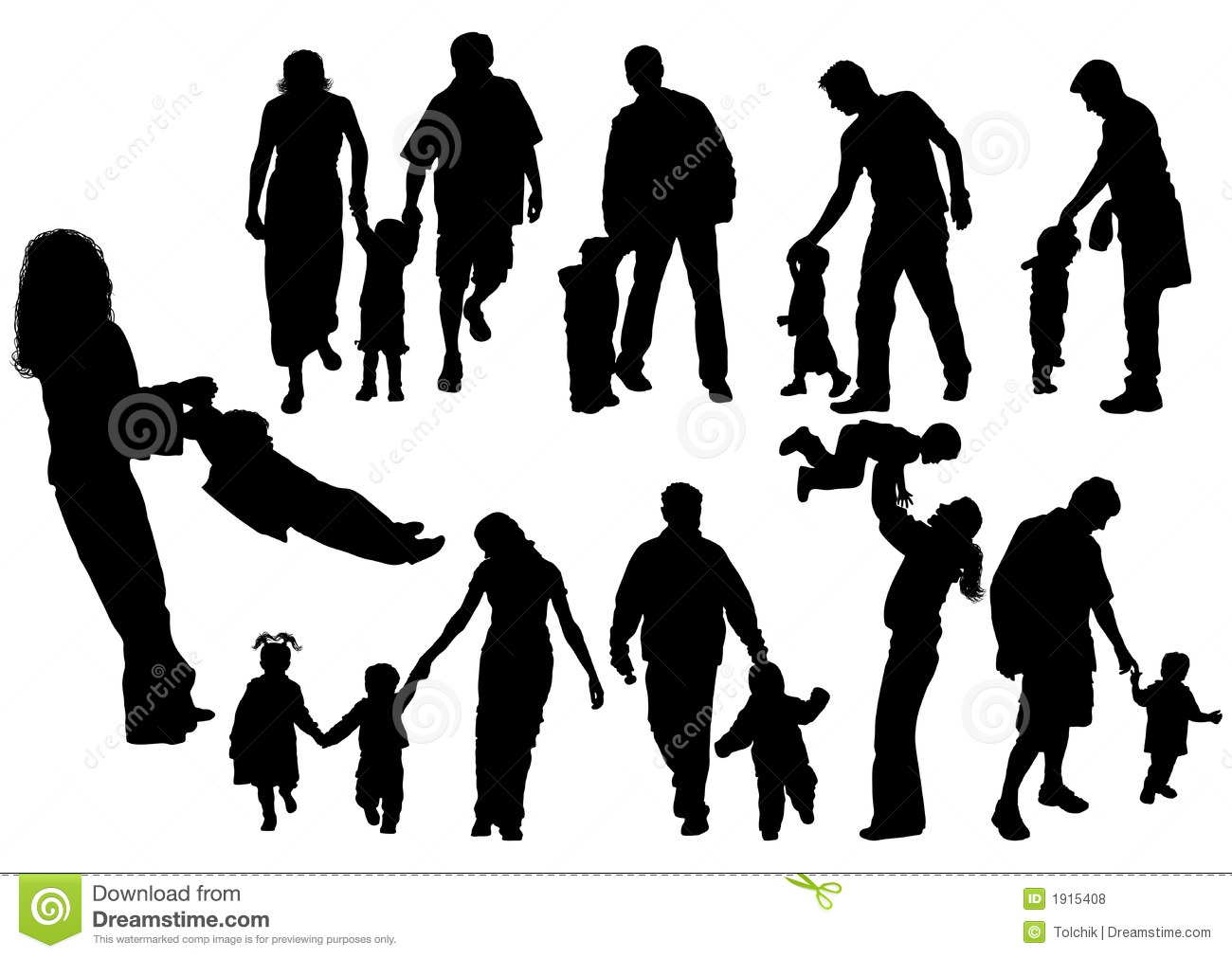 Silhouettes Of Parents With Baby Vector Stock Vector