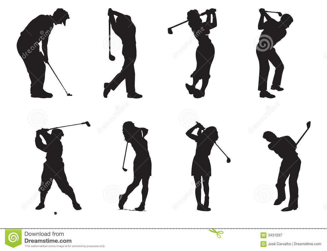 Silhouettes Of Players Of Golf Royalty Free Stock