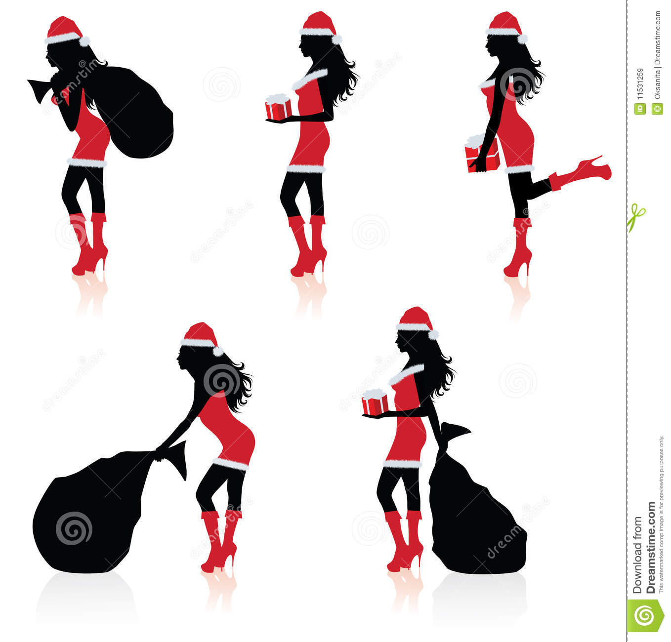 Silhouettes Of A Sexy Santa Royalty Free Stock Images