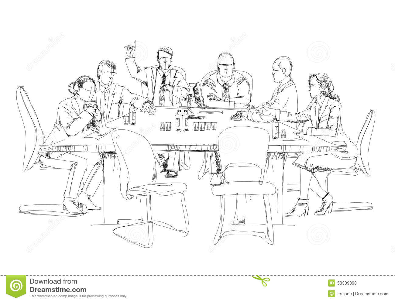 Silhouettes Of Successful Business People Working On Meeting Sketch Stock Illustration