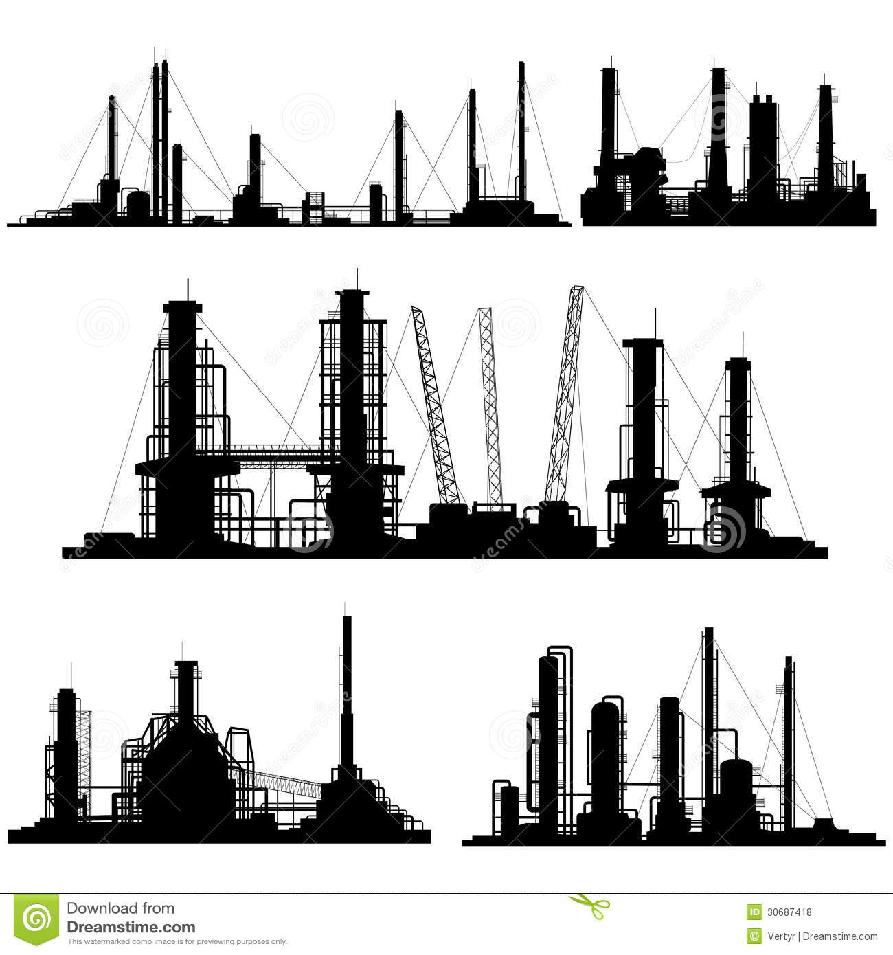 Silhouettes Of Units For Industrial Part Of City Stock