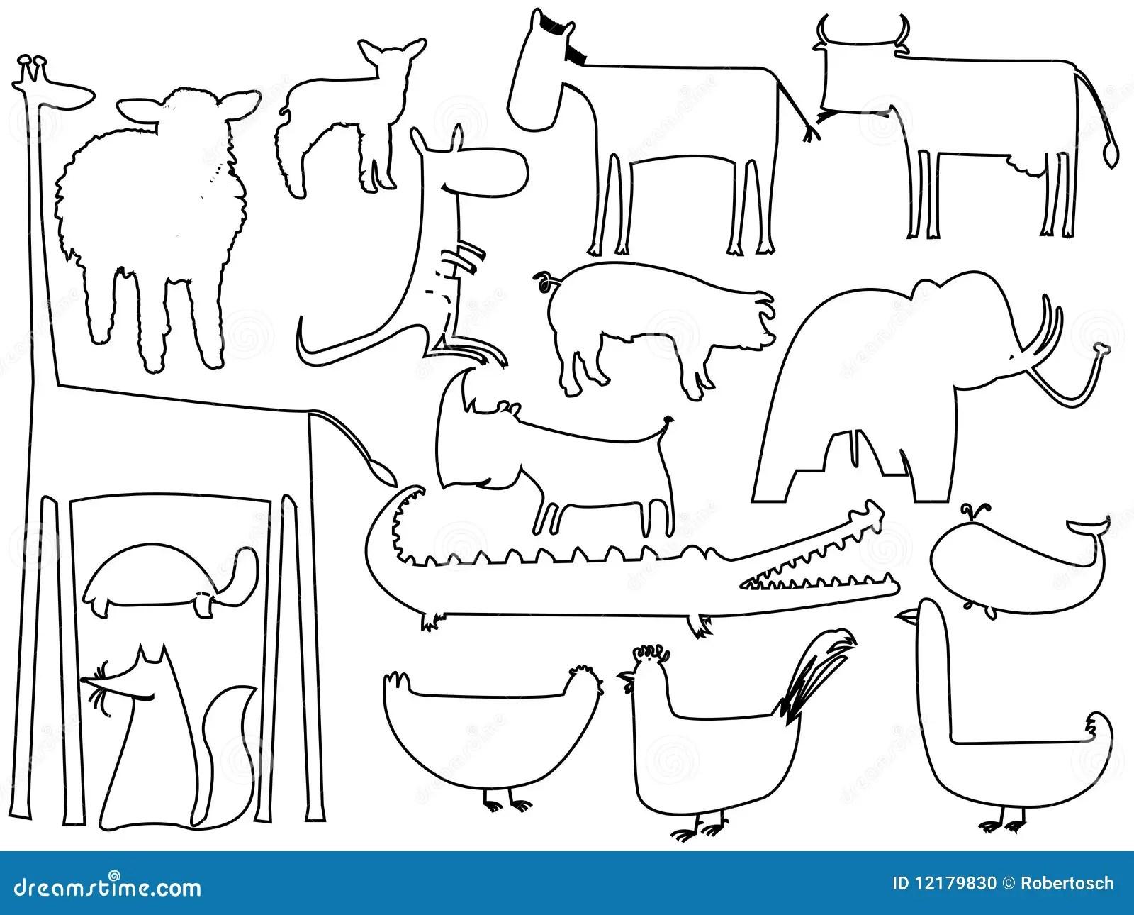 Siluetas Blancos Y Negros Animales En Blanco Ilustracion