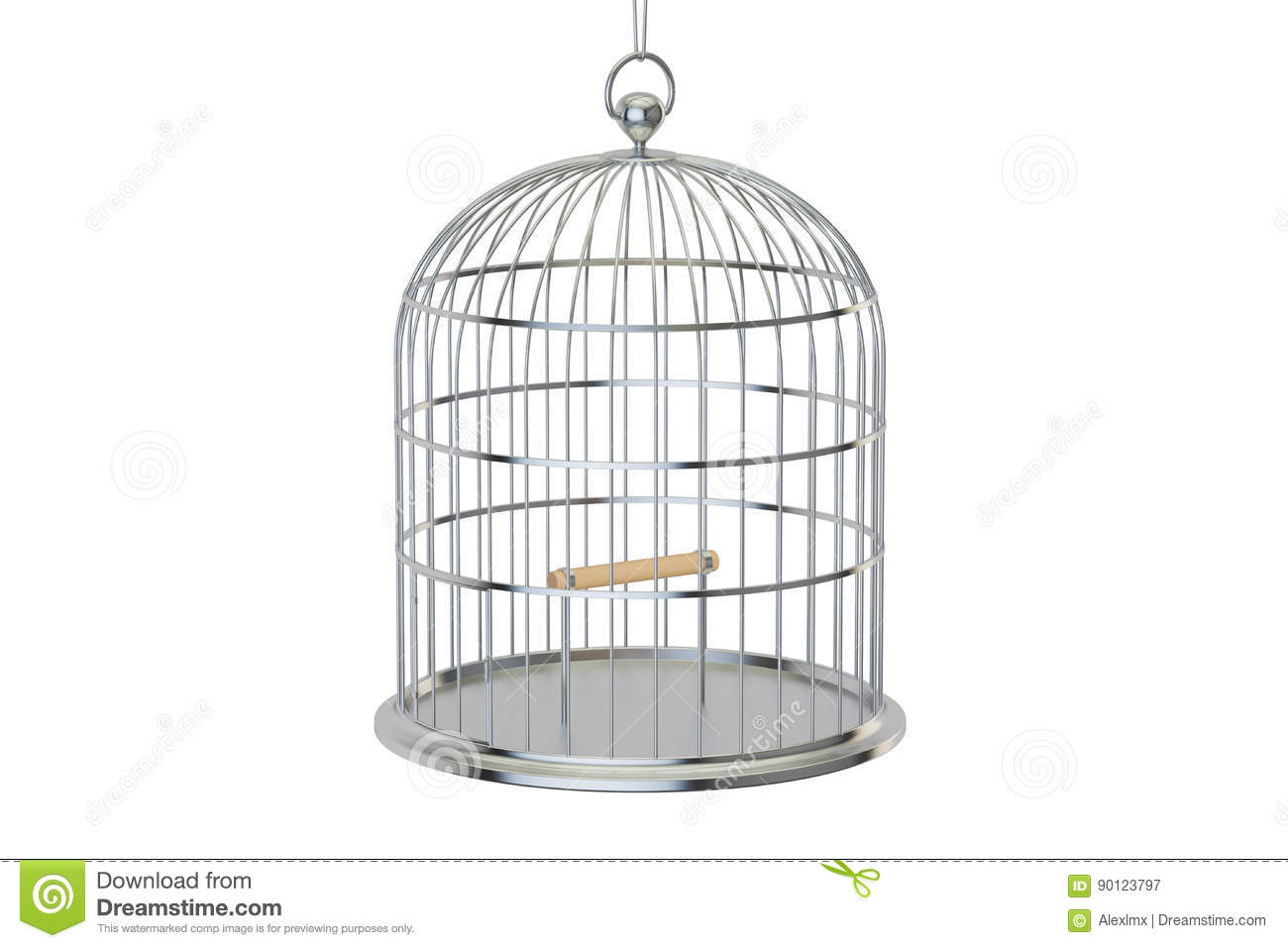 Silver Bird Cage Isolated On White Stock Illustration