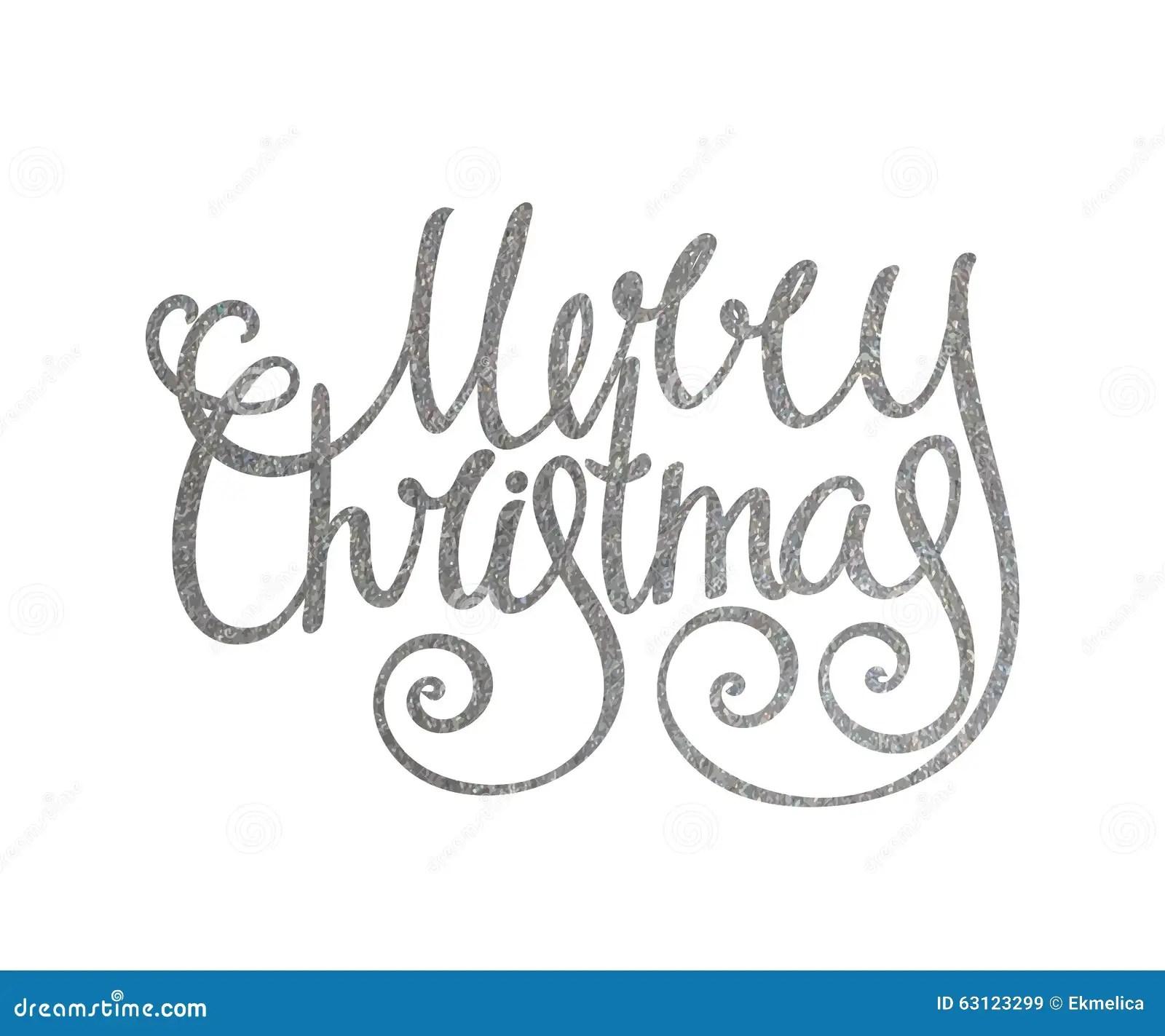 Silver Handwritten Inscription Merry Christmas Stock