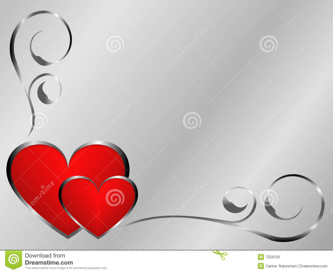 Silver And Red Valentines Stock Photo Image 7526150