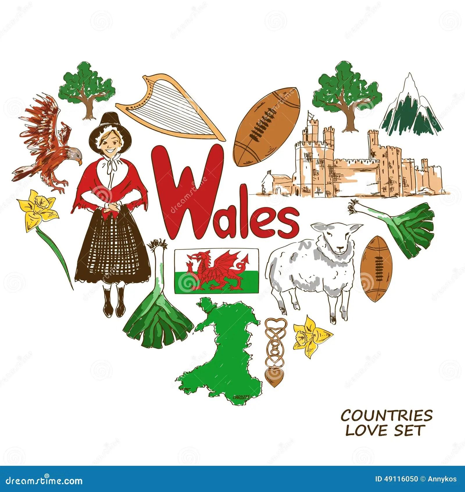 Simboli Di Galles Nel Concetto Di Forma Del Cuore