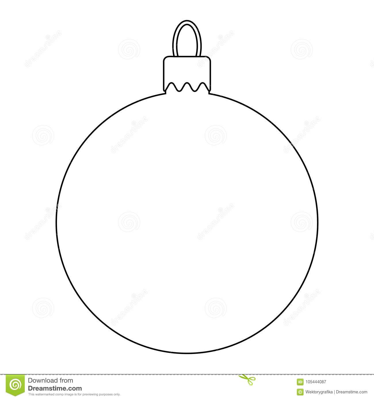 Simple Bauble Outline For Christmas Tree Isolated On White