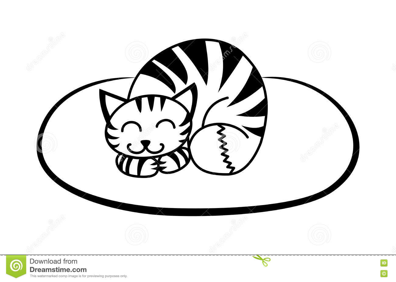 Simple Black Pattern Cute Cat On The Mat Stock Vector
