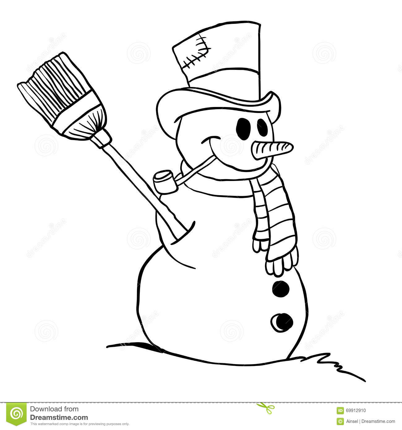 Simple Black And White Snowman Stock Vector