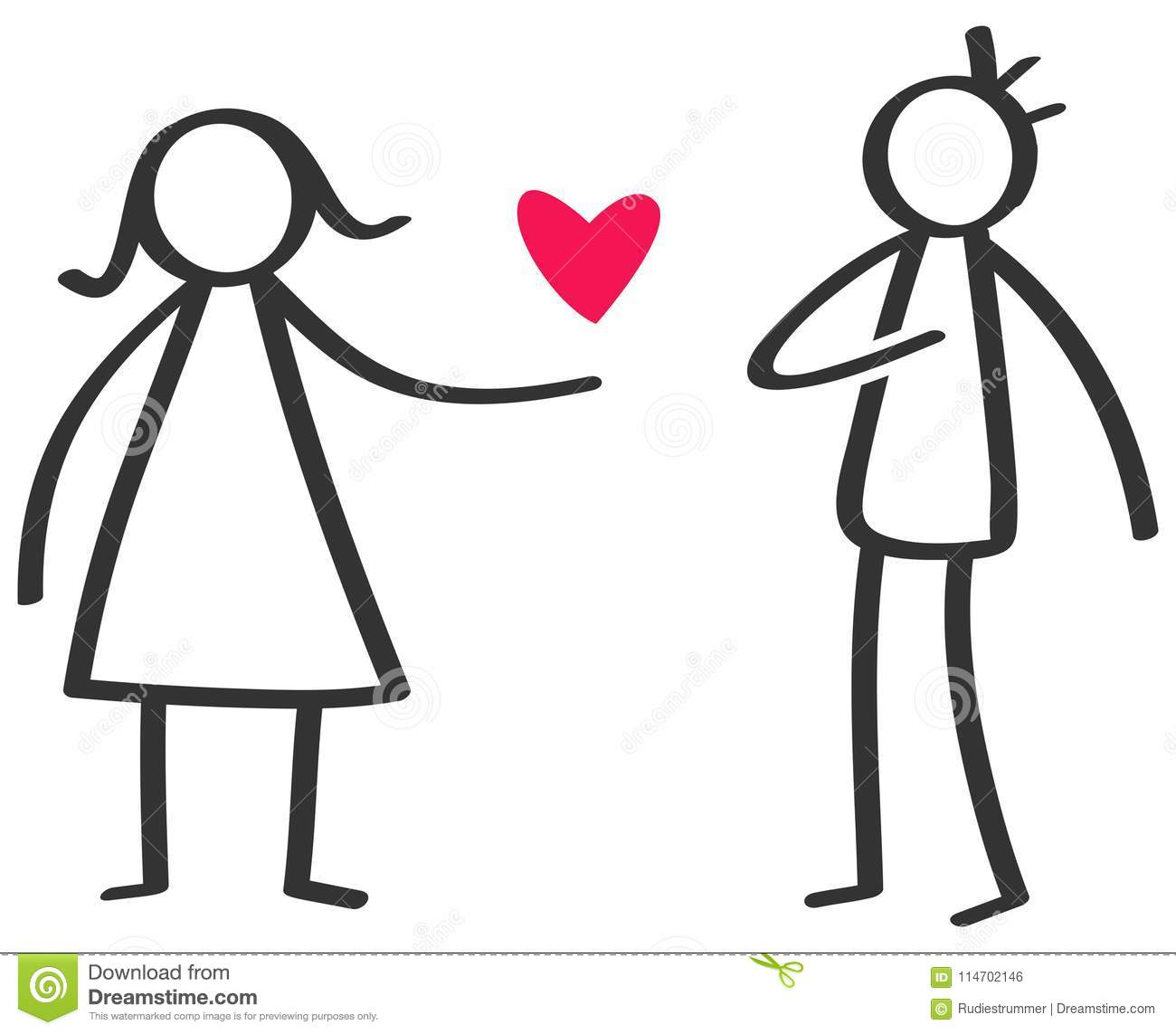 Simple Black And White Stick Figure Woman Giving Love Red