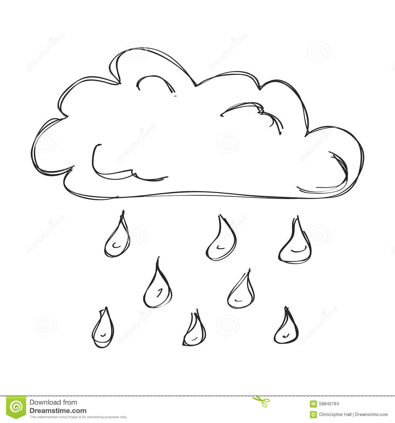 Simple Doodle Of A Cloud With Rain Stock Vector