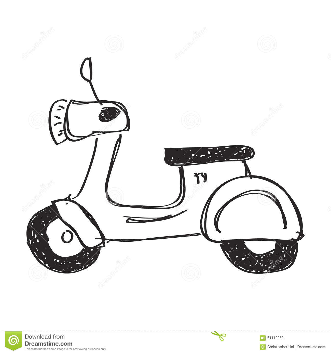 Simple Doodle Of A Scooter Stock Illustration