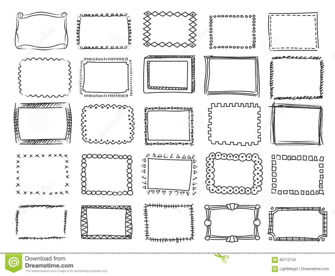 Simple Doodle Sketch Square Vector Frames Stock Vector