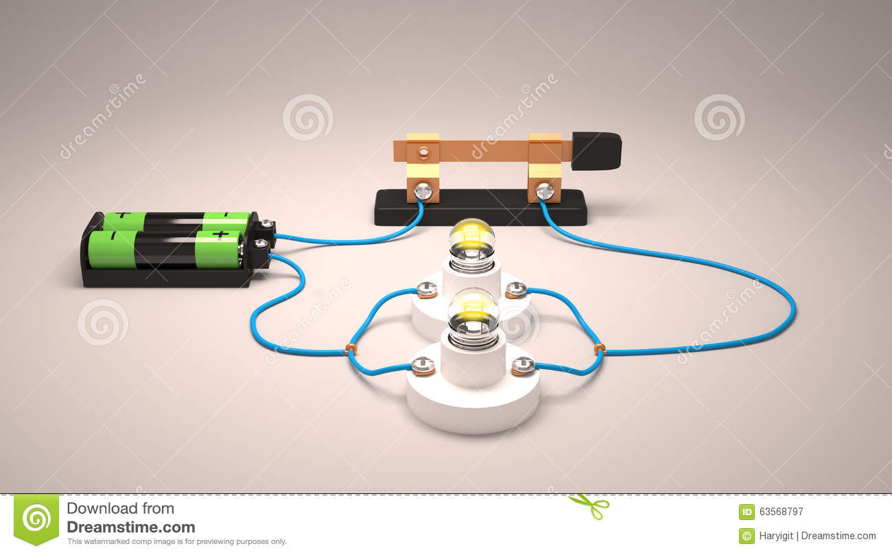 Simple Electric Circuit Parallel Stock Illustration