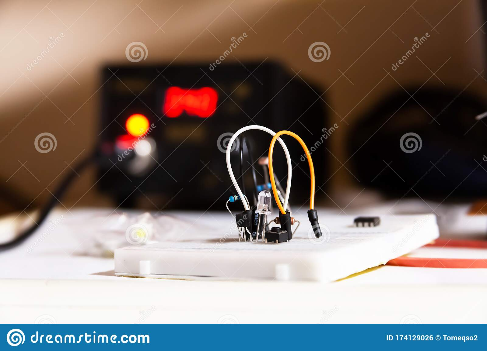 Simple Electric Circuit White Breadboard With Electrical