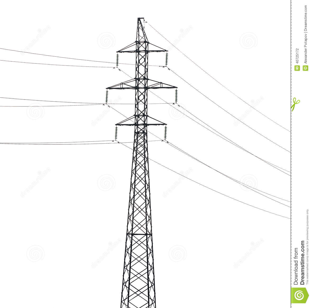 Simple Electrical Steel Pylon Isolated On White Stock